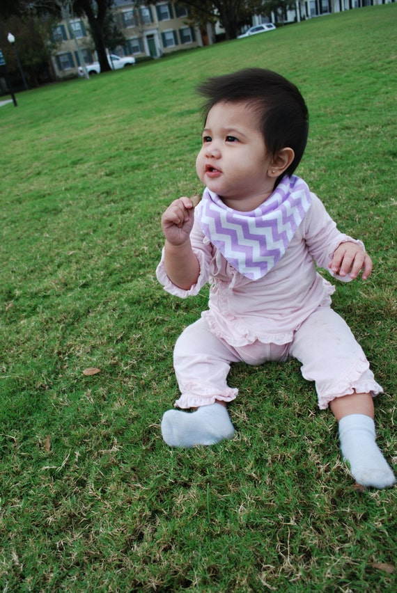 Purple Bandana Baby Scarf - Purple Chevron Baby Scarf - Baby Bandana Scarf - Winter Baby Scarf - Chevron Scarf-Baby Girl Scarf-Bandana Scarf