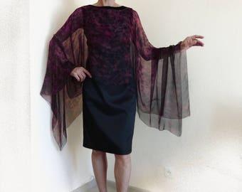 Silk kaftan Poncho Sheer chiffon Hand painted caftan Plus size Dress kimono Burgundy Garnet birthstone Top Tunic Cape Mantle Cruise Wedding