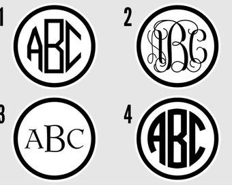 "3"" Personalized Vinyl Monogram Circle"