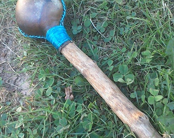 Large Round Rawhide Shaman Rattle, Red Stag Deer or Horse, Shamanic Journey Ritual Sound Healing