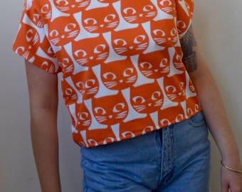 Bright orange funky CAT print s/s top- S/M
