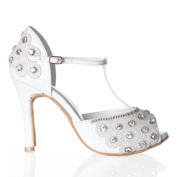 White Silver Donna Flapper Wedding Shoes Hand Embellished