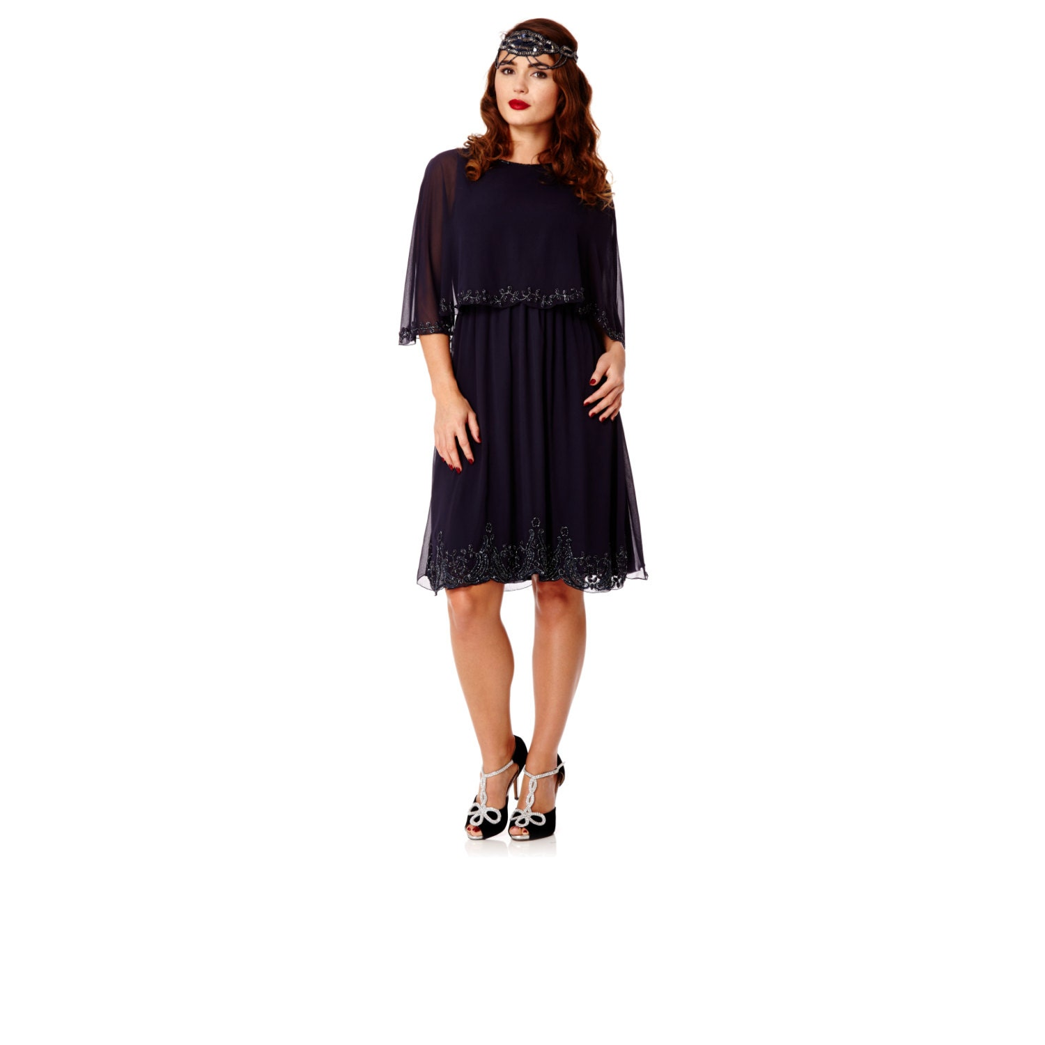Plus Size Gloria Navy Blue Capelet Dress Vintage Inspired 1920s Flapper Great Gatsby Wedding