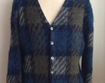 1960's Plaid Mohair Cardigan Sweater