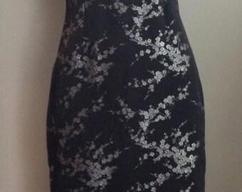 Vintage 1960s Black & Silver Floral Satin Full Length Cheongsam/ Mandarin/China