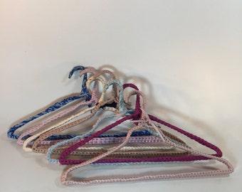 Vintage Crochet Clothes Hangers, Retro Hangers Set of 7