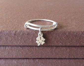Bangle Ring Expandable Sterling Silver Lucky Clover Shamrock Ring