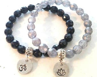 Set of 2 Yoga Tranquility Om Ohm Lotus Flower Navy Blue Slate Grey Glass Beaded Stretch Relaxation Hand Stamped Charm Bracelets