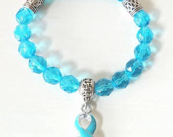 Dysautonomia Turquoise Awareness Ribbon Infinity Beaded Stretch Bracelet
