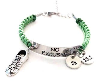 No Excuses Running Sneaker Hand Stamped 5k 10k Marathon Half Marathon Love to Run Charm Bracelet You Choose Your Charm(s) and Cord Color(s)