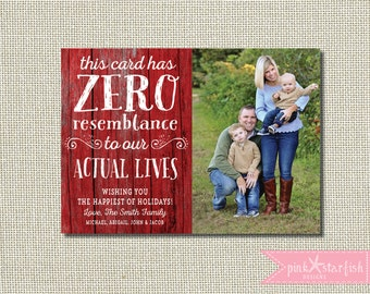 Christmas Card, Holiday Card, Rustic Christmas Card, Wood Christmas Card, Zero Resemblance, Funny Holiday Christmas Card, Photo, Blooper