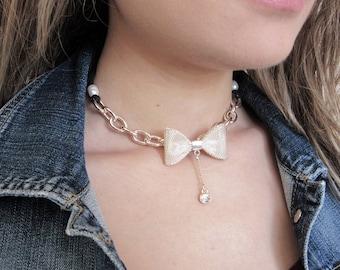 Gold Choker Necklace, Gold Chunky Chain Choker, Gold Ribbon Choker, Pendant Choker, Hippie Jewelry, Bohemian Jewelry