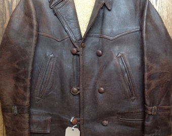 """Vintage 1960s 60s brown chrome tanned leather jacket Canadienne 44"""" chest barnstormer shearling lining patina rockabilly double breasted"""