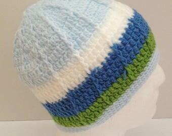 Crochet beanie hat, blue winter beanie hat, crochet hat,  kid's toque, kids wear, kid's hat, boy's and girl's beanie hat, cloche hat