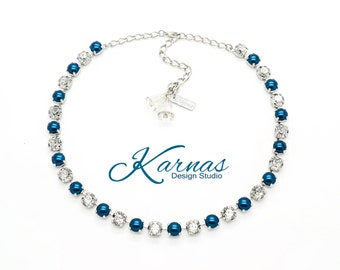 SILVER BELLS 8mm Crystal & Pearl Necklace Made With Swarovski Elements *Pick Your Finish *Karnas Design Studio *Free Shipping