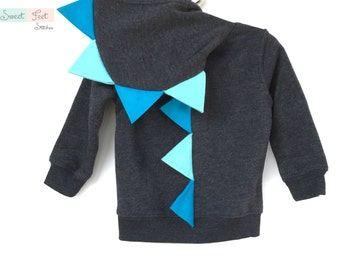 18m Gray Dinosaur Hoodie with Blue & Aqua Spikes