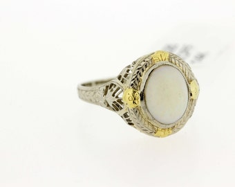 14K Gold opal two tone Ring