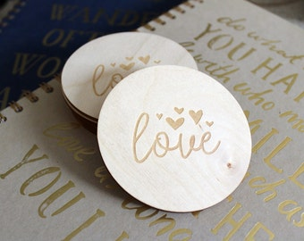 """Love Coaster, 3.5"""" - Wood Coaster, Valentines, Gift for Her, Heart Coaster, Engraved Wood, Drink Coaster, Coaster Set, Birch Coaster"""