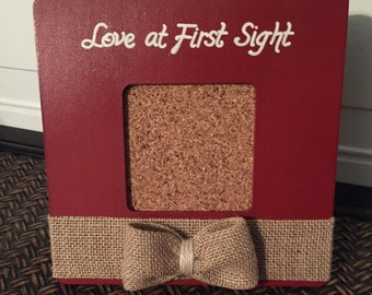 Red Love at first sight frame Newborn frame Baby shower gift Red nursery decor Baby girl frame Baby boy frame Red and White frame Baby gift