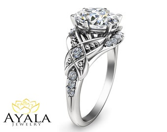 Oval Moissanite Engagement Ring 14K White Gold Engagement Ring Halo Engagement Ring