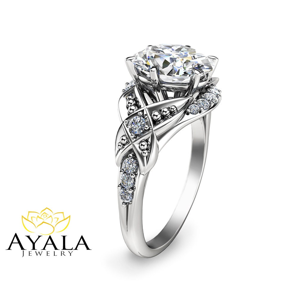 Oval Moissanite Engagement Ring 14K White Gold Engagement Ring