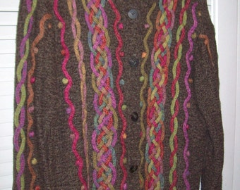 Vintage Talbot's Winter Sweater Braided, Emboidered,- Hot Cocoa  Color Size M
