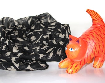 Black cats scarf. Animal scarves. Animal printing scarves. Cats accessory.  Black chiffon scarf, Funny cats scarves.  Kitten scarf.