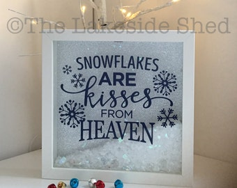 Snowflakes are kisses from heaven Memorial Frame Feathers Wings Rembrance Memory Box Shadow Frame Drop Box Memories