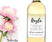 Bridesmaid Wine Labels- Mini Champagne- Weatherproof- Gold Dots