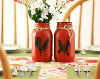 Farm Decor - Chicken Decor - Rooster Decor - Utensil Holder - Mason Jar Decor - Shabby Chic - Flower Vase - Painted Mason Jar - Farm House