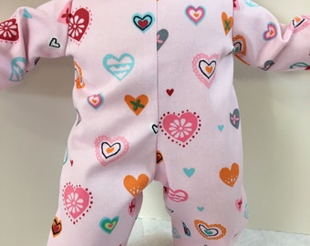 "15 inch Bitty Baby Clothes, Pretty 'Pink Colorful HEARTS"" Romper, 15 inch AG Doll Bitty Baby Clothes & Twin Doll, LOVE My Doll!Fancy Hearts!"