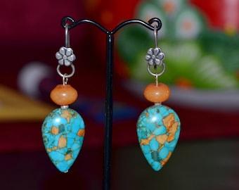Beautiful ocean blue turquoise silver earring !