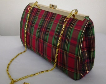 red green plaid holiday wedding Christmas clutch purse New Years Eve prom clutch red clutch red plaid clutch  BBsCustomClutches