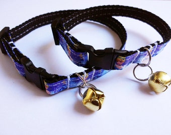 Adjustable breakaway cat collar, Cinderella with gold coloured bell in adult or kitten sizes.