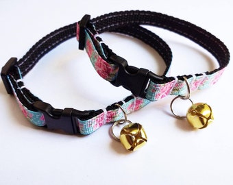 Adjustable breakaway cat collar, light green-blue and pink rose floral with gold coloured bell in adult or kitten sizes.