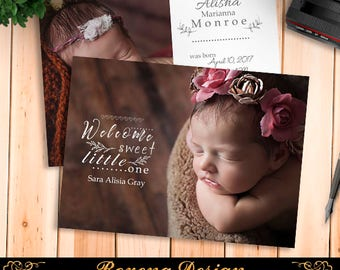 Birth Announcement Template, Birth Announcement Girl, Birth Announcement Template Boy, Photography Templates, Photoshop Template