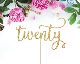 Twenty Cake Topper 20th Birthday Milestone Glittery Cursive