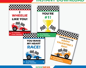 Race Car Valentine - Car Valentine - Valentines Cards For School - Valentines Day Cards for Kids - Printable Valentine (Instant Download)