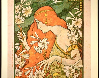 French Wall Art Mucha Style Poster Print Art Nouveau