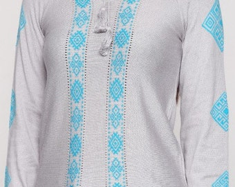 Ethnic blouse turquoise Ukrainian clothing gift for her cotton top knitted blouse womens shirt women top vyshyvanka