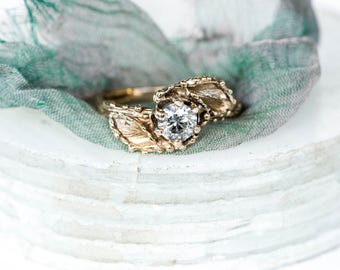 14k gold grey moissanite twig engagement ring, leaf twig engagement ring, moissanite twig ring