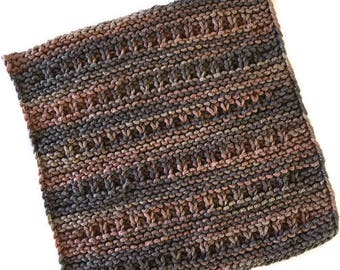 "Knit Dishcloth, Cotton Face Cloth, Washcloth, ""Shades of Brown"" Kitchen or Bathroom Decor, Bridal Shower Gift, Housewarming - Gift for Her"