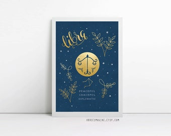 Libra, zodiac art print, star sign, astrology gifts, birthday gift