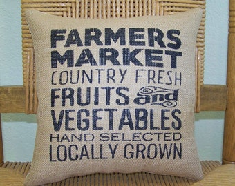 Farmers market pillow, Burlap pillow, Farmhouse pillow, stenciled pillow,  country pillow,  decorative pillow, FREE SHIPPING!