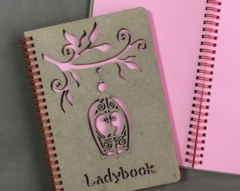 "Ladybook ""Bird"", A5 Wooden Sketchbook / Notebook"