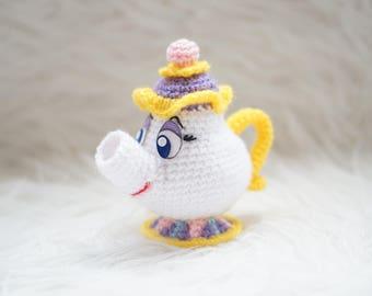 Mrs Potts Beauty and the Beast Amigurumi Pattern Disney Movie Chip and Mrs Potts Teapot Easy DIY PDF Crochet Tutorial