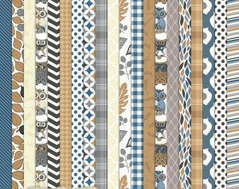 "Digital Printable Scrapbook Craft Paper - Colorado Days - Navy Blue Brown Owls Plaid Chevron Houndstooth - 12 x 12"" - PU/CU Commercial Use"