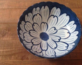 Large Blue Flower Bowl, Japan, Decorative Bowl, Blue Flowers