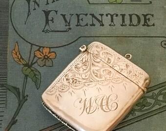 Antique Edwardian Solid Sterling Silver Vesta Case by T.E. Beardsmore, Hallmarked Birmingham 1908 Match Safe, 925 Silver