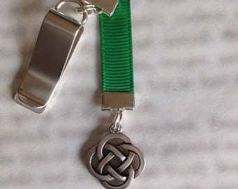 Celtic Knot bookmark with clip - Attach clip to book cover then mark the page with the ribbon. Never lose your bookmark!